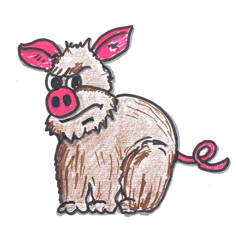 Schweinehund gezeichnet